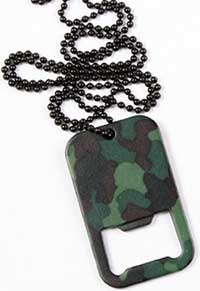 WOODLAND CAMO DOG TAG BOTTLE OPENER